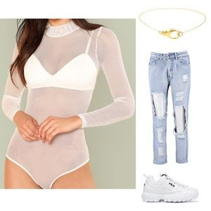 Tops - White Mesh Bodysuit